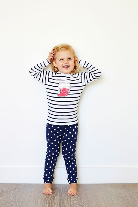 Girls Navy Owl PJ set