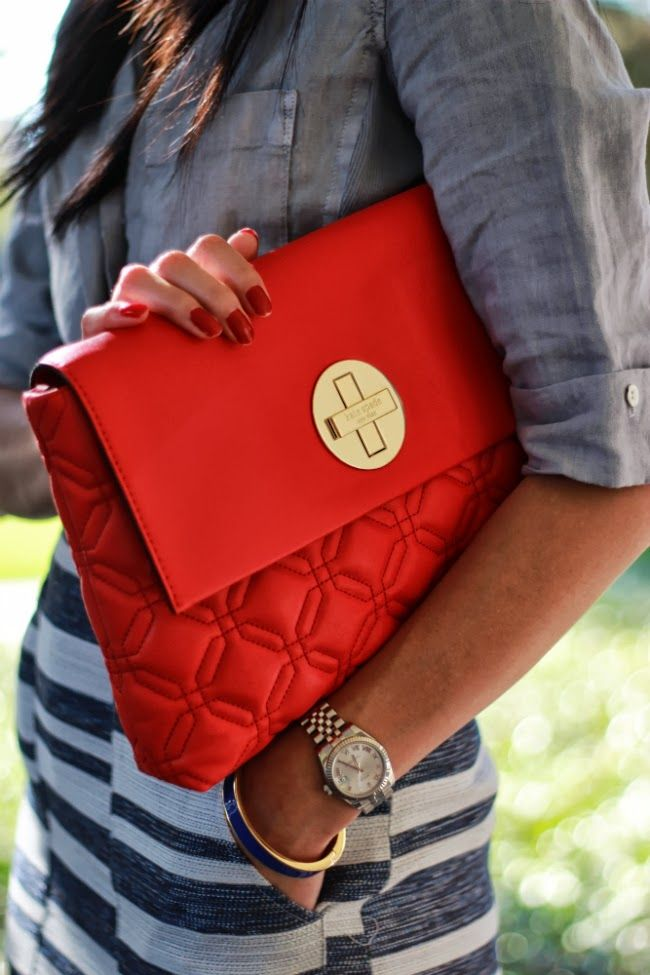 Bright red (Kate Spade) quilted bag. I love it! Even though I should use the bag I have.