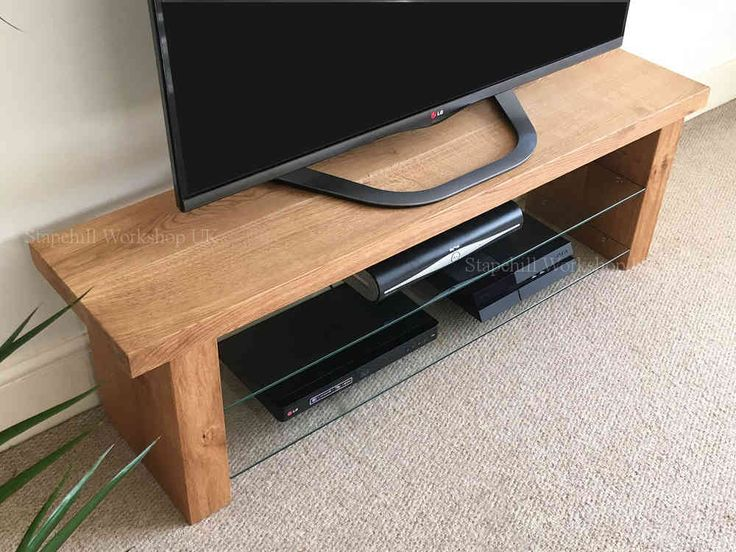 Lulworth 40 Oak And Glass Slim TV Stand Unique, Rustic Thick And Chunky Unit  Cabinet