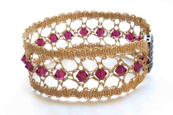 Bobbin lace bracelet with Swarovski beads (Model #1 Gold thread)