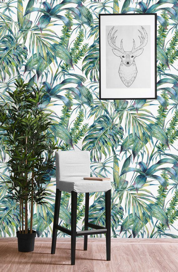 Green Tropical Leaves And Ferns Removable Wallpaper Peel And Etsy Wall Wallpaper Wall Murals Wallpaper
