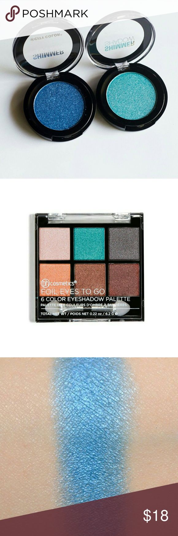 """CITY COLOR & BH COSMETICS BUNDLE CITY COLOR  ~SINGLE SHADOWS   ~ It's a Boy ~ Lightly Swatched    ~ Breezy ~ Lightly Swatched  BH COSMETICS  ~ FOIL EYESHADOW TO GO   ~ 6 SHADOW PALETTE      ~ One shadow lightly swatched  ALL 3 AVAILABLE  """"As-is"""" SMOKE FREE and PET FREE HOME City Color & BH Cosmetics  Makeup Eyeshadow"""