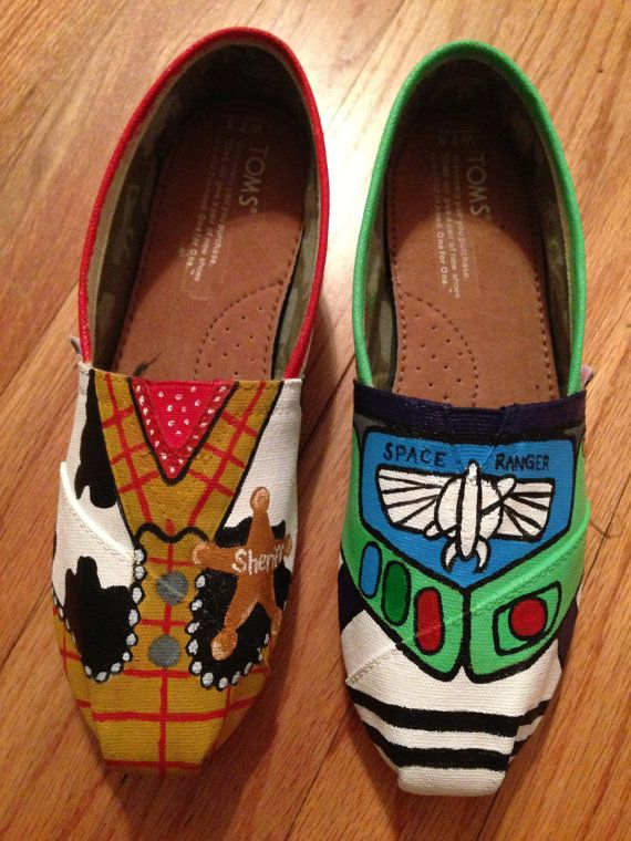 Custom Hand-Painted Toy Story Buzz Lightyear and Woody Toms Shoes (All Requests Accepted). $55.00, via Etsy.