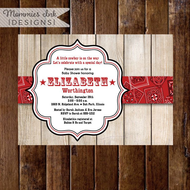 Barn Wood with Red Bandana Baby Shower Invitation - PRINTABLE INVITATION DESIGN by MommiesInk on Etsy https://www.etsy.com/listing/201655624/barn-wood-with-red-bandana-baby-shower