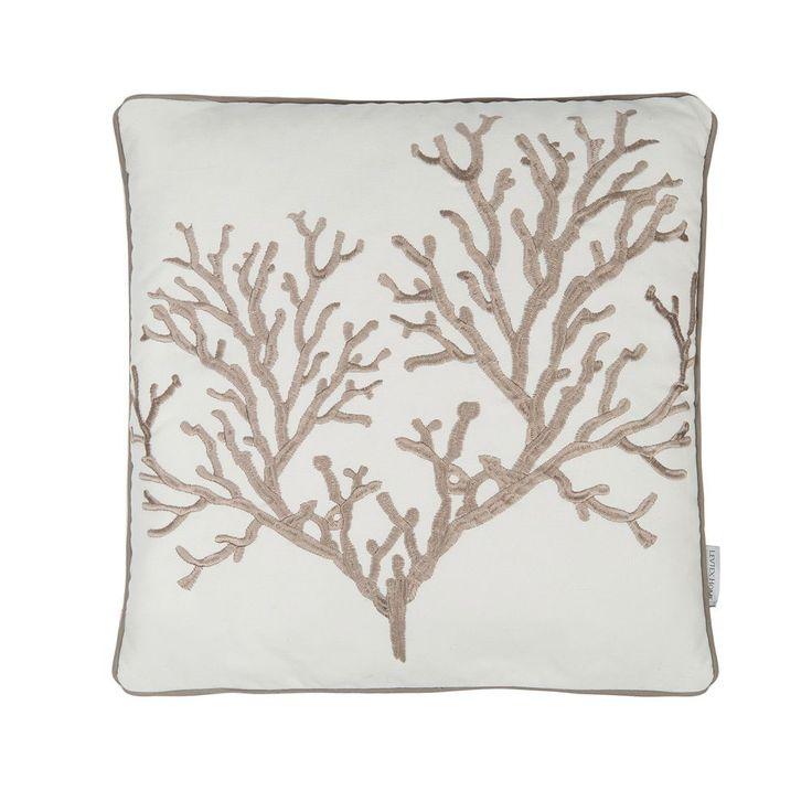 Galapagos Embroidered Coral Throw Pillow, Beig/Green (Beig/Khaki)