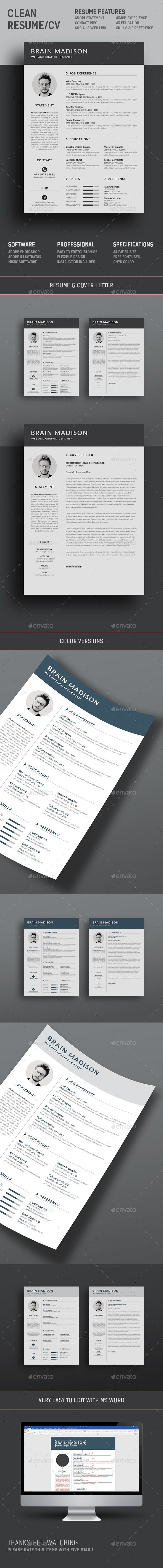 Resume by deviserpark This is a simple clean resume template focusing Name,Experience,Education and Skills which includes Resume & Cover Letter.Internat