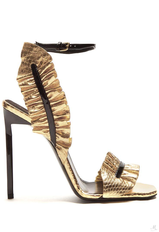 SAINT LAURENT Edie ruffle-trimmed leather sandals