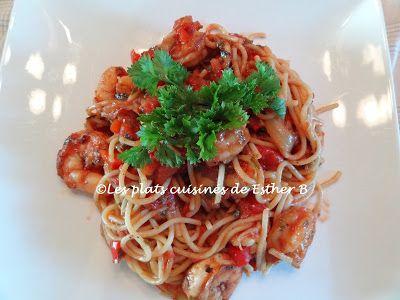 Les plats cuisinés de Esther B: Pâtes aux crevettes, sauce tomate