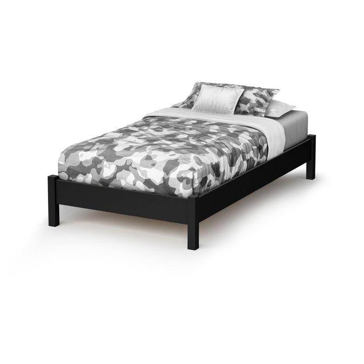 twin contemporary platform bed frame in black wood finish - Black Platform Bed Frame