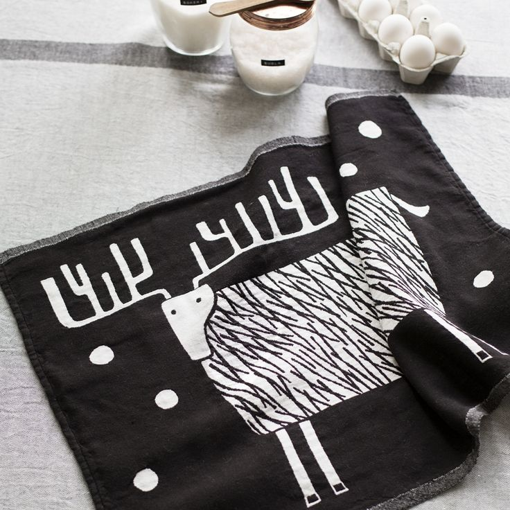 Lapuan Kankurit Poro Black & White Tea Towel