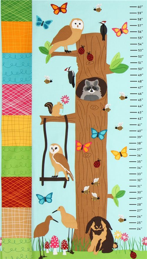 blue forest animal kids growth chart fabric Robert Kaufman #kids