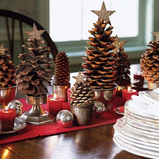 Christmas Decor - cute idea to use pinecones for Christmas trees!