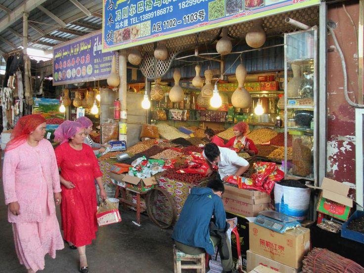 The Grand Bazaar at Kashgar, Xinjiang, China, is still a largely Uyghur enclave.