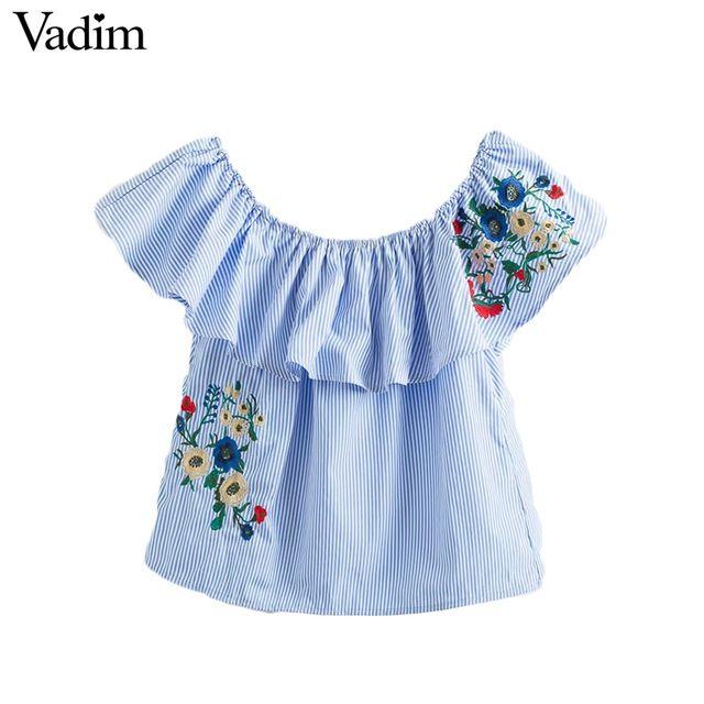 Vadim mujeres dulce ruffles floral bordado de rayas camisas de cuello slash hombro blusa del verano ocasional lindo tops blusas DT1142