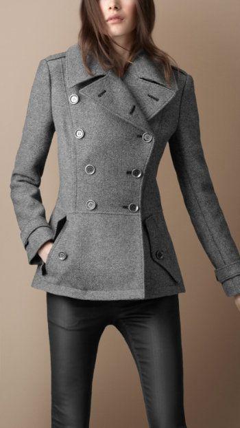 burberry pleated back pea coat $895