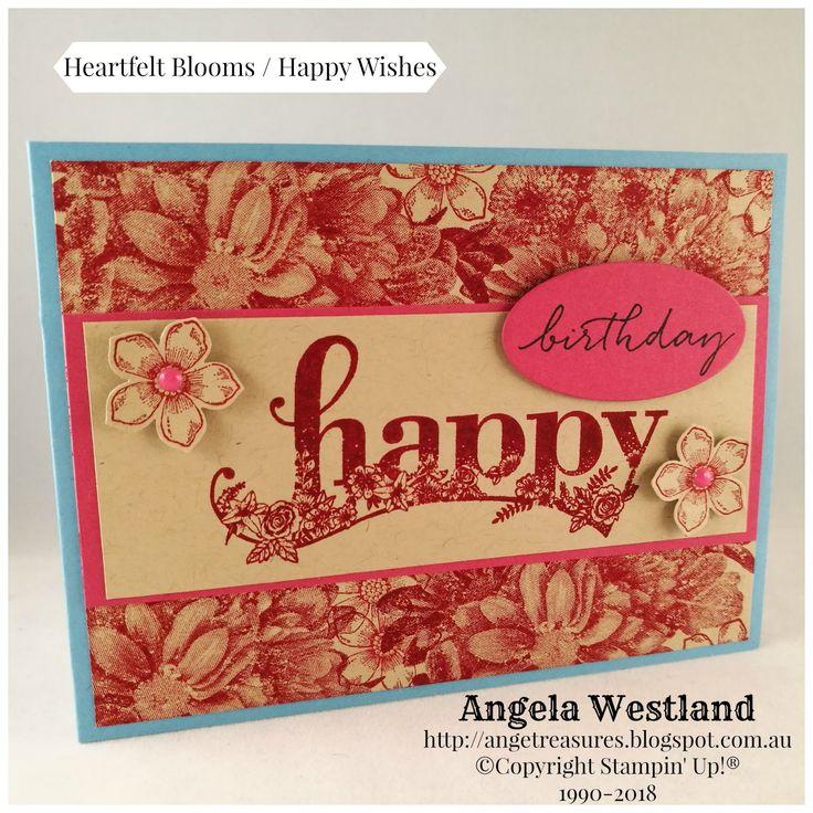 #happywishes #heartfeltblooms #handmadecards #stampinup #happybirthday #petitepetals #petitepetalpunch #backgroundstamp #createyourowndsp #angelawestland