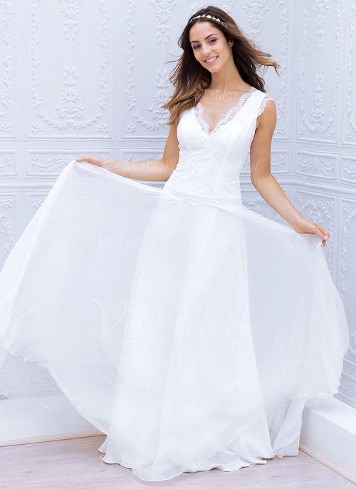 Wedding Dresses - $130.82 - A-Line/Princess V-neck Sweep Train Chiffon Lace Wedding Dress With Appliques Lace (0025059920)