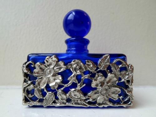 Vintage Cobalt Blue Perfume Bottle w/Filigree Flower Metal Holder
