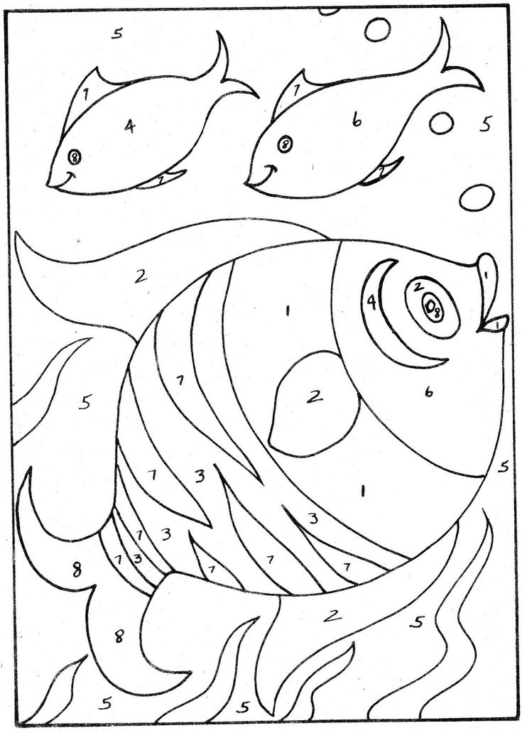 Coloring Pages For Kids : simple color by number Simple