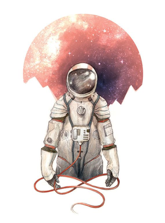 Astronaut 9x12 Illustration Print by CaitlinRussellArt on Etsy, $18.00