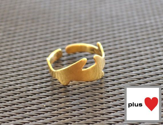 Princess Yellow gold plated Silver Band by PlusLoveStudio on Etsy - 27.85euro