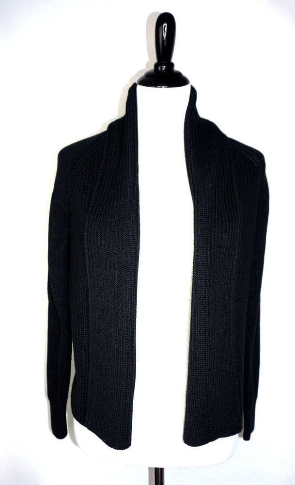L.L.Bean Wormen Petites S Black 100% Cotton Shaker Stitch