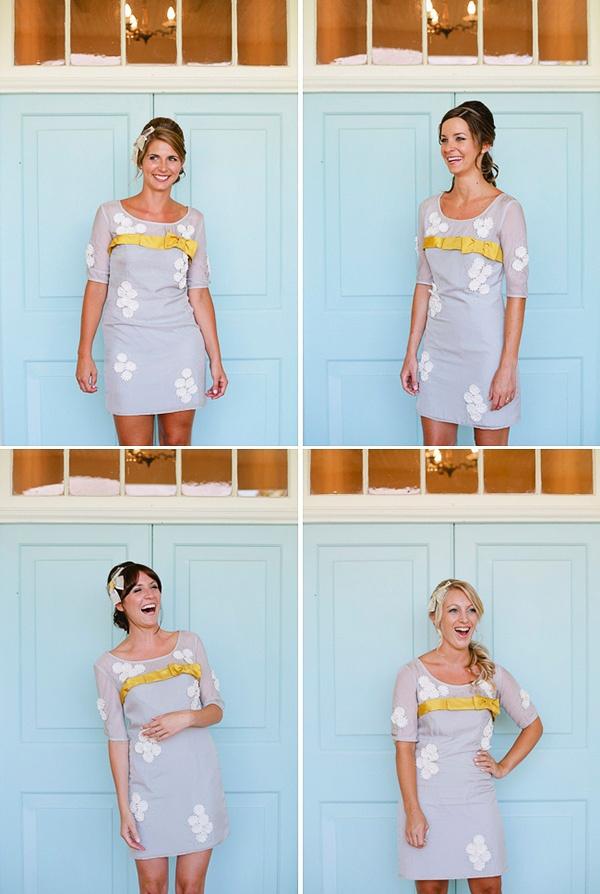 Подружки невесты в платьях с маргаритками #wedding #bridesemaid #grey #yellow #dress #flowers