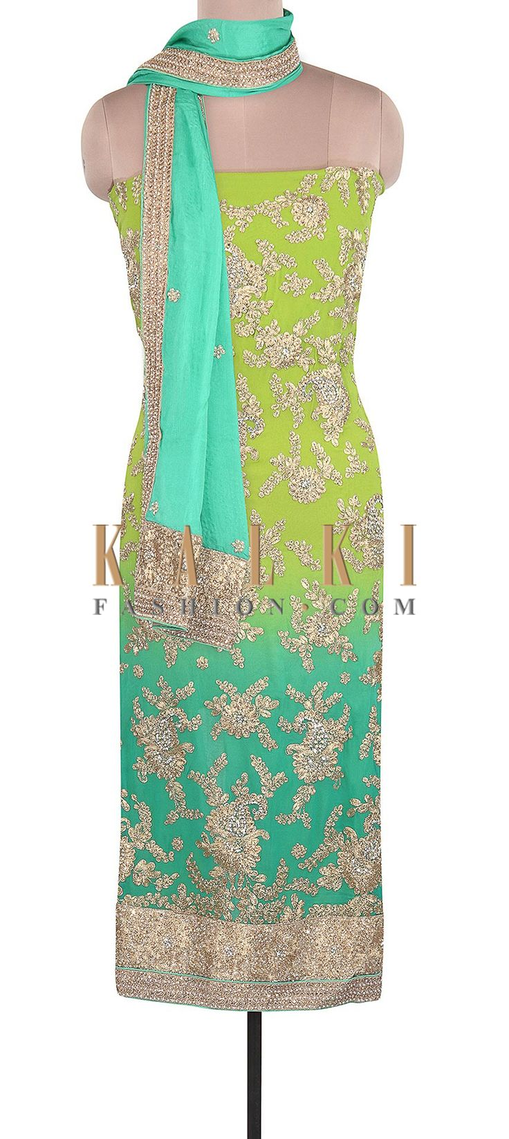 Buy Online from the link below. We ship worldwide (Free Shipping over US$100). Product SKU - 305509.Product Link - http://www.kalkifashion.com/sea-and-blue-unstitched-suit-adorn-in-zari-and-pearl-embroidery-only-on-kalki.html