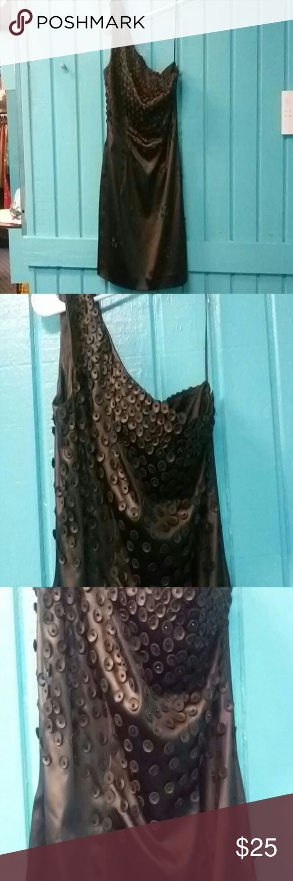 A.B.S. Black Silky Stretchy One Strap Dress Size 4 A.B.S. Black Silky Stretchy One Strap w/ Circle Leather and Beads Sewn on Dress Size 4-Pre-owned A.B.S. Dresses