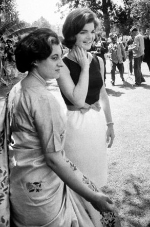 Indira Gandhi with Jackie Kennedy in India, 1962.