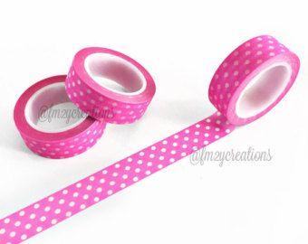 WASHI TAPE   Neon PINK Polka Dot Washi Tape   Pink Washi Tape   Japanese tape   Deco Tape   Planner tape   Masking Tape   Planner Stickers