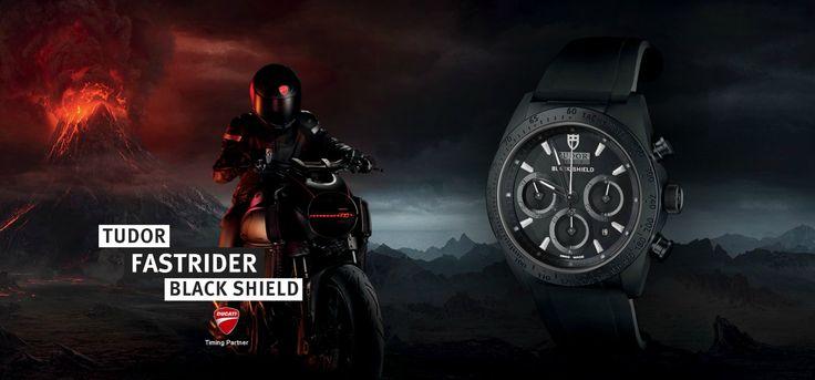 TUDOR FASTRIDER BLACK SHIELD. Dedicado a los apasionados de las motos... Cronógrafo automático con contornos angulares y esculpida elegancia deportiva, une el mundo del motociclismo con el de la alta relojería mediante una visión común del diseño.  http://www.tudorwatch.com/#/es/fastrider/ #tudorwatch #fastrider #blackshield #watch #watchoftheday #watchesofinstagram #black #red #motorsport #ducati #motorcycle