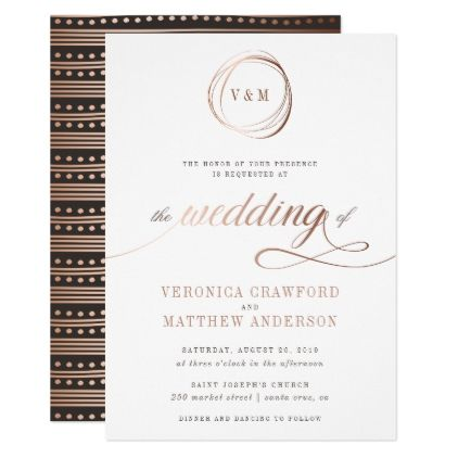 Minimalist Rose Gold Typography Wedding Invitation - invitations custom unique diy personalize occasions