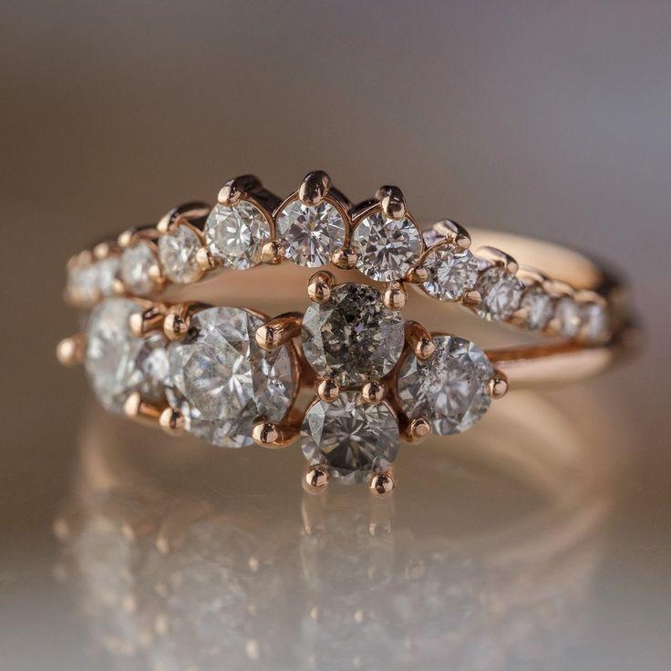 1.50 Carat Salt & Pepper Diamond Engagement Ring, Cluster Setting, 14K Rose Gold