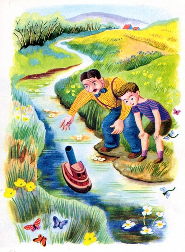 """Scuffy the Tugboat, Illustrations by Tibor Gergely, 1946 (1983 Edition)- First Voyage from """"Scuffy the Tugboat"""", Little Golden Book, 1946 (1983 Edition) by Gertrude Crampton Illustrations by Tibor Gergely"""