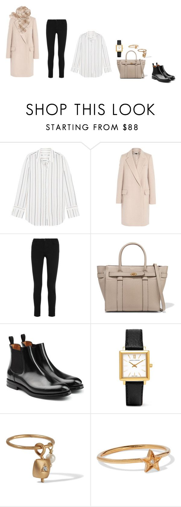 """""""Equipment Holly striped washed-silk shirt"""" by mrs-box ❤ liked on Polyvore featuring Equipment, STELLA McCARTNEY, J Brand, Church's, Larsson & Jennings, IaM by Ileana Makri and Woolrich"""
