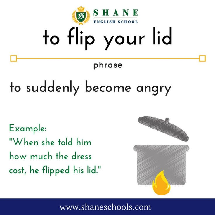 """to flip your lid to suddenly become angry """"When she told him how much the dress cost he flipped his lid."""" #ShaneEnglishSchool #ShaneEnglish #ShaneSchools #English #Englishclass #Englishlesson #Englishfun #Englishisfun #language #languagelearning #education #educational #phrase #phrases #phraseoftheday #idiom #idioms #angry"""