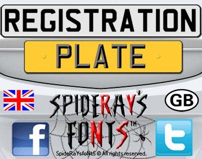 Image for REGISTRATION PLATE UK font
