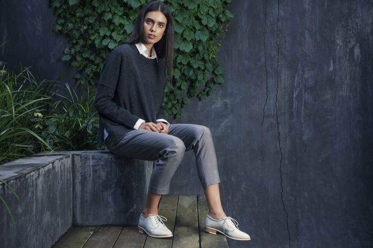 Talia Berman wearing lace up shoes Yuko in white crackle. Photographed by Nick Scott, Makeup by Mae Taylor. Shot on location in Brighton, Melbourne, Australia.