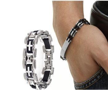 1x мужская серебро нержавеющая сталь черный резиновый прохладный браслет браслет манжеты браслет