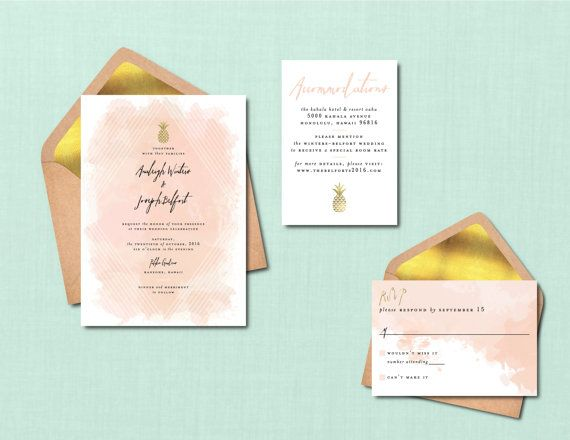 Modern Pineapple Watercolor Wedding Suite // DIY PRINTABLE Invite + RSVP…
