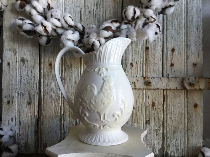 White Rooster Pitcher by Lenox ~ Butler's Pantry Rooster Medallion Pitcher ~ Farmhouse Pitcher ~ Farmhouse Kitchen by SassafrasShoppeCo on Etsy