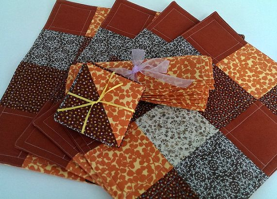Orange & Brown Placemats, Napkins and Wine Glass Cozies - Set of 4 each