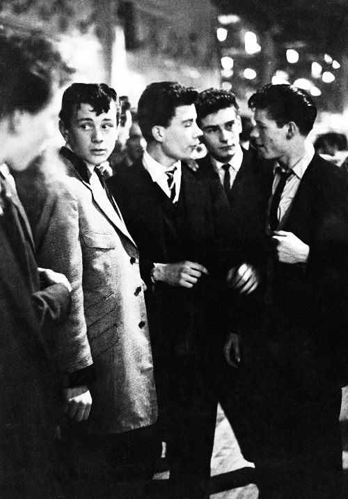 A group of teddy boys enjoy an evening out at the Mecca Dance Hall in Tottenham, London, 1954, ☚