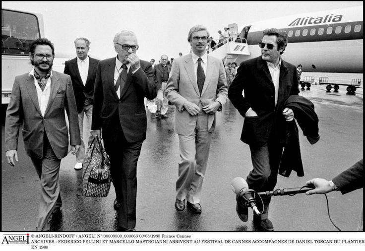 With Marcello Mastroianni, in Cannes (1980).