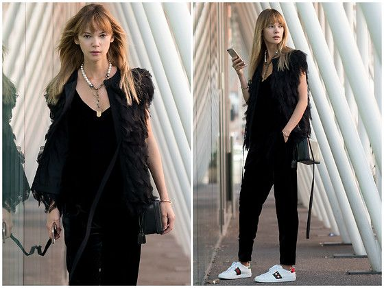 Get this look: http://lb.nu/look/8681057  More looks by Anastasiia Masiutkina: http://lb.nu/anastasiiamas  Items in this look:  Elena Burenina Trousers, Topshop Top, Elena Burenina Vest, Gucci Sneakers, Mark Cross Bag, Lanvin Necklace   #chic #romantic #street #musthave #eatdresstravel #anastasiiamasiutkina #streetstyle #streetstylevgenio #fashionblogger