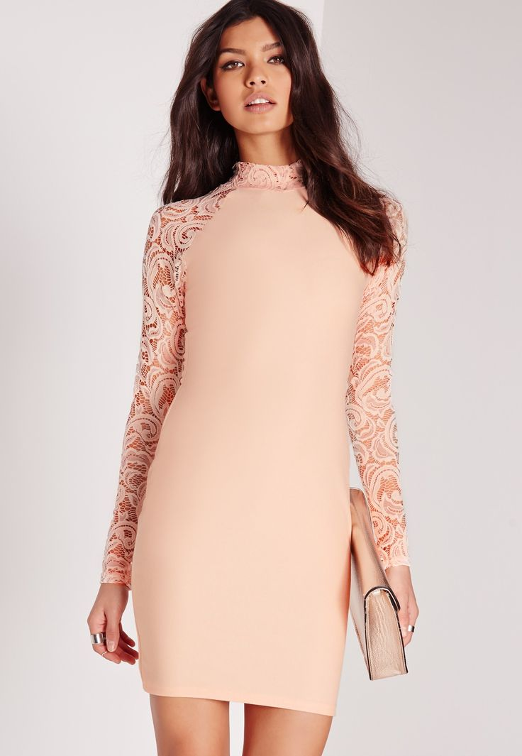 Your'e officially invited to the after party in this lacy little number! Ensure all eyes are on you this weekend in this peachy little number, courtesy of Missguided. This lust worthy piece features long lace sleeves and has a body hugging ...