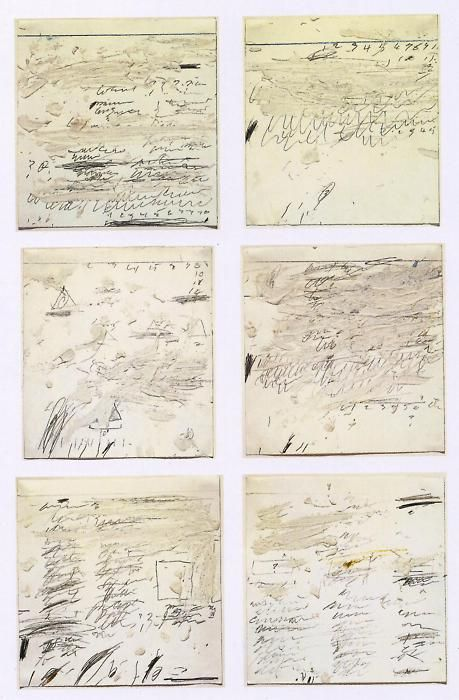 Cy Twombly, Poems to the Sea i-vi, 1959, oil, graphite, wax crayon on paper.