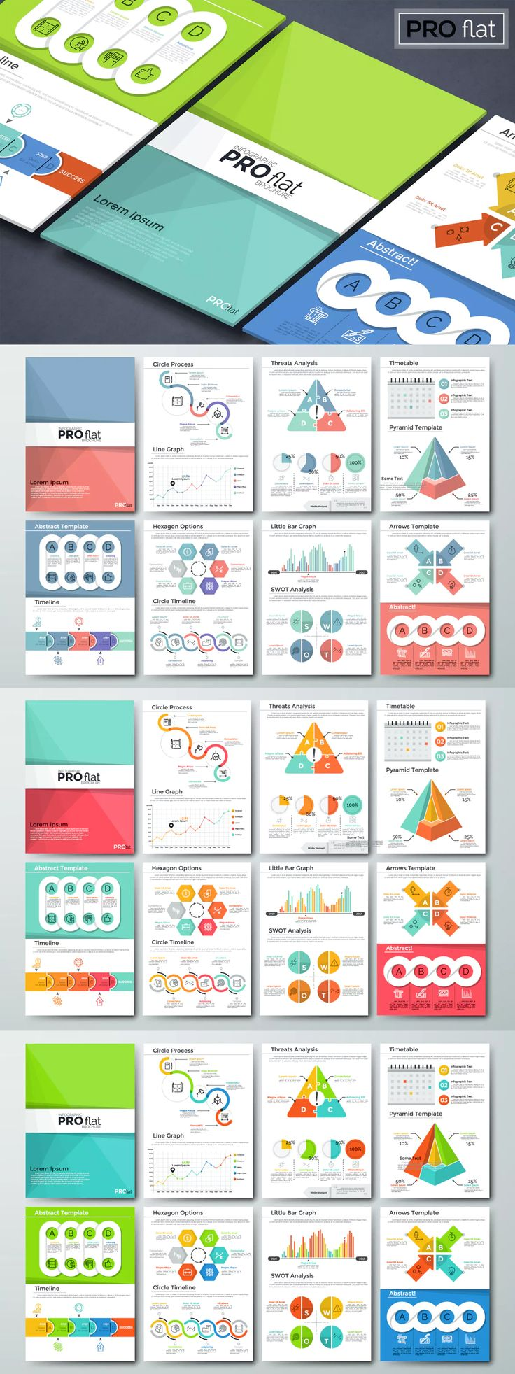 Pro Flat Infographic Brochure Template AI, EPS