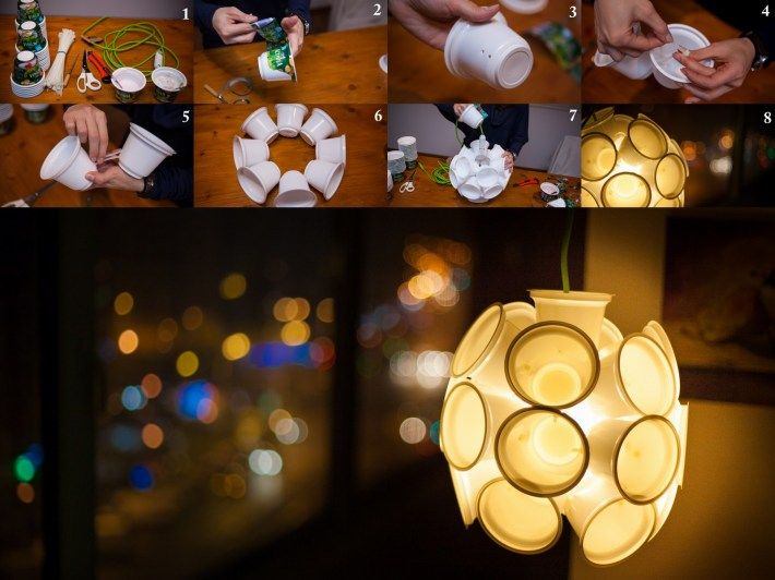 lamp from yogurt cups